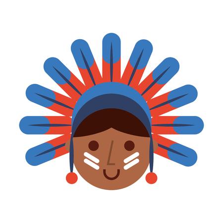 native American character icon vector illustration design