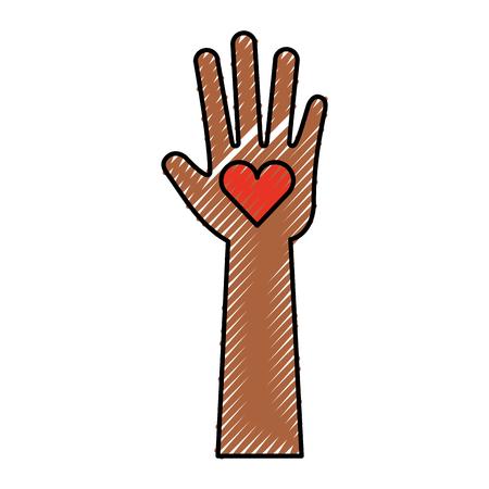 hand human with heart vector illustration design Çizim