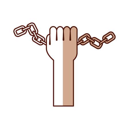 hand human with chains vector illustration design Illustration