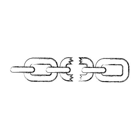 깨진 된 체인 격리 된 아이콘 벡터 일러스트 디자인