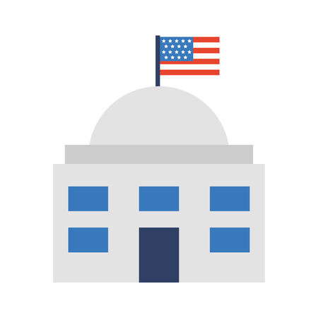 white house with flag vector illustration design Stock Vector - 78649429
