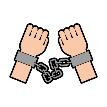 hand human with chains vector illustration design Illustration