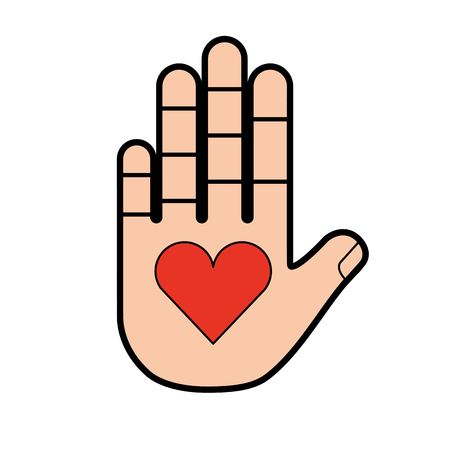 hand human with heart vector illustration design Vetores