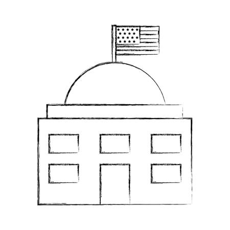 white house with flag vector illustration design