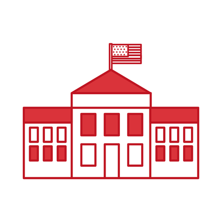 white house with flag vector illustration design Stock Vector - 78648463
