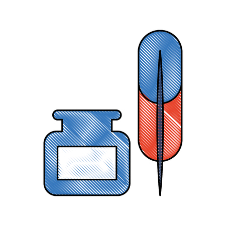 scribe: feather with ink icon vector illustration design