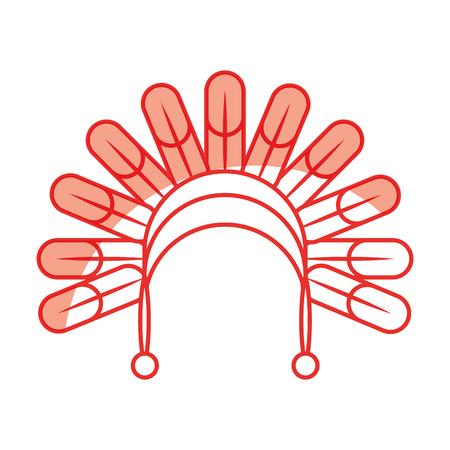 native American feather hat vector illustration design