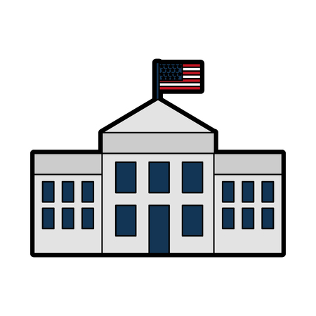 iconic architecture: white house with flag vector illustration design