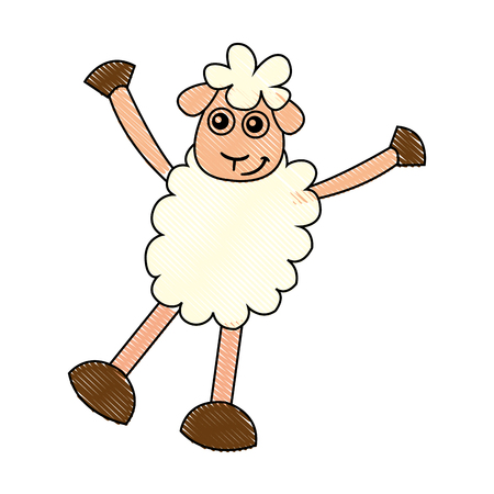 domesticated: cute sheep drawing character vector illustration design Stock Photo