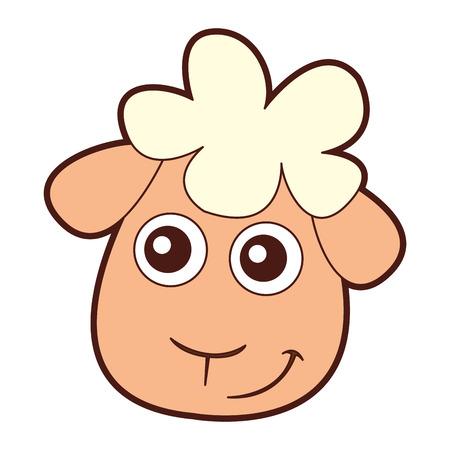 かわいい羊の文字ベクトル イラスト デザインを描く