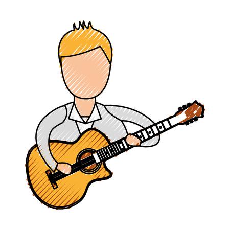 musician playing guitar avatar vector illustration design