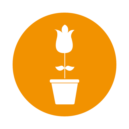 cute rose garden with pot isolated icon vector illustration design