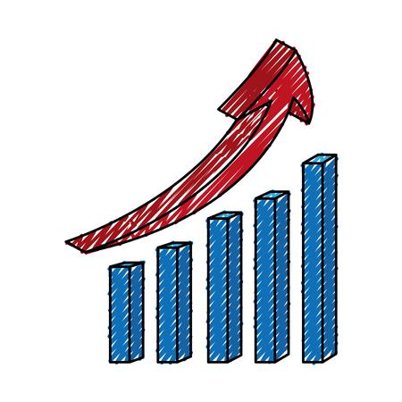 statistics bars with arrow vector illustration design