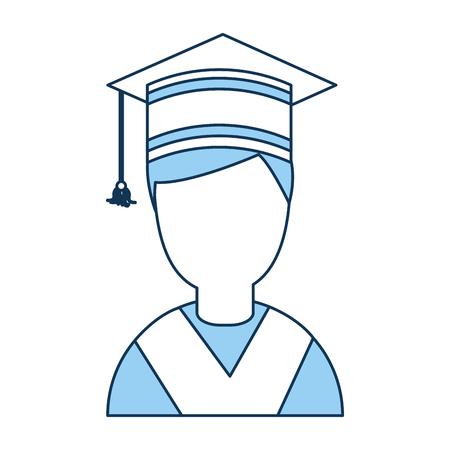 Student afgestudeerd met hoed avatar karakter vector illustratie ontwerp Stock Illustratie