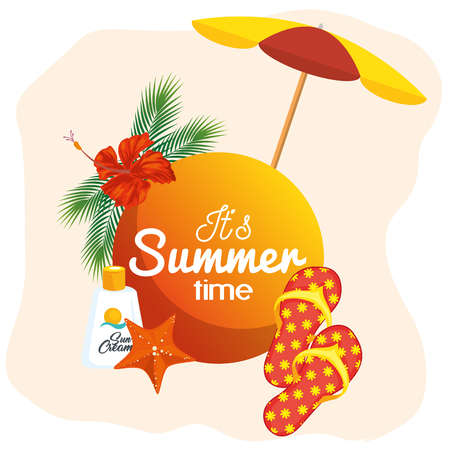 Its summer time sign with tropical flower and beach related objects over peach and white background. Vector illustration.
