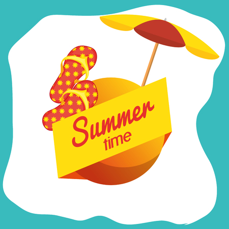 Summertime sign with umbrella and flip flops over teal and white background. Vector illustration.