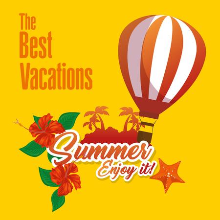 最高の休暇は、熱い空気バルーン、熱帯の花でログインし、黄色の背景の上の関連するオブジェクトをビーチします。ベクトルの図。