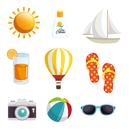Objects related to summer vacations over white background. Vector illustration. Illustration