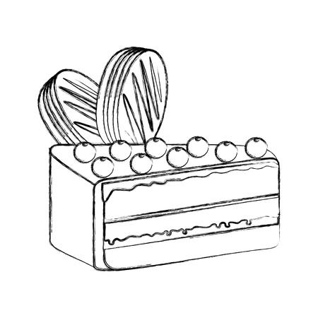 Diapositive gâteau sucré délicieux morceau vector illustration graphisme Banque d'images - 78696258