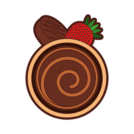 chocolate roll cake icon vector illustration graphic design