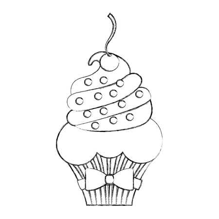 little delicious creamy cupcake vector illustration graphic design