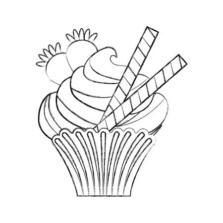 cupcake illustration: little delicious creamy cupcake vector illustration graphic design