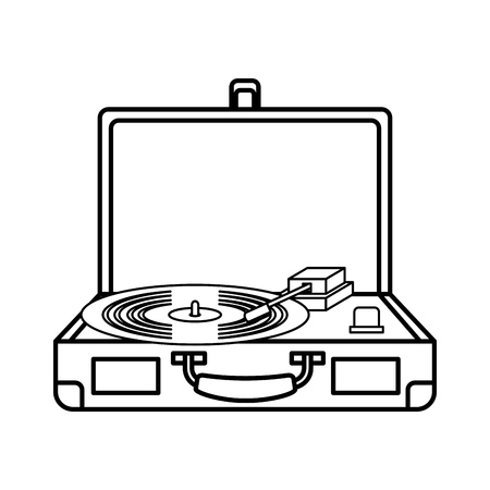 old isolated record player vinyl record vector illustration graphic design Illustration