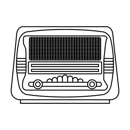 hit tech: isolated retro radio vector illustration graphic design