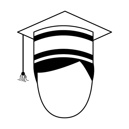 student graduated with hat avatar character vector illustration design