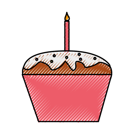 cupcake illustration: sweet and delicious cupcake with candle vector illustration design