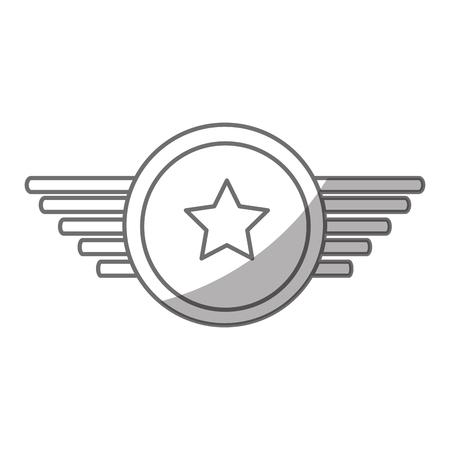 Marine medaille met vleugels vector illustratie ontwerp