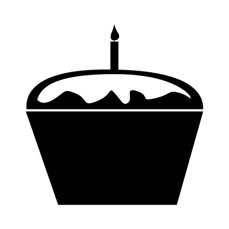 sweet and delicious cupcake with candle vector illustration design