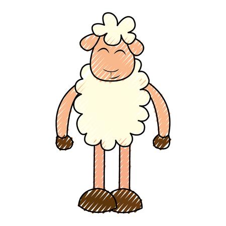 Cute ovejas dibujo carácter ilustración vectorial diseño Foto de archivo - 78696460