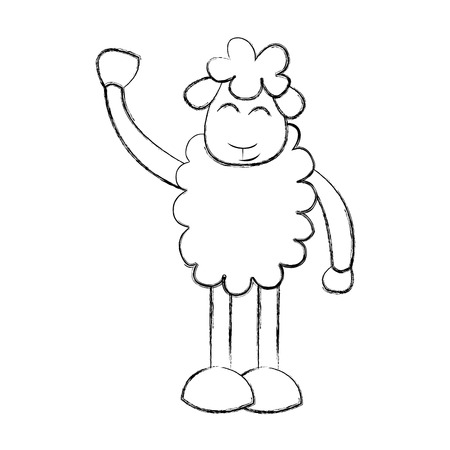 domesticated: cute sheep drawing character vector illustration design Illustration