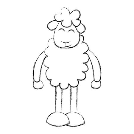 Cute ovejas dibujo carácter ilustración vectorial diseño Foto de archivo - 78696675