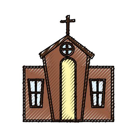 exterior church building icon vector illustration design