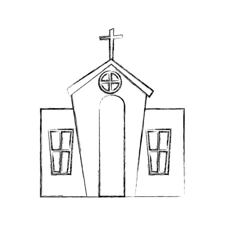 exterior church building icon vector illustration design