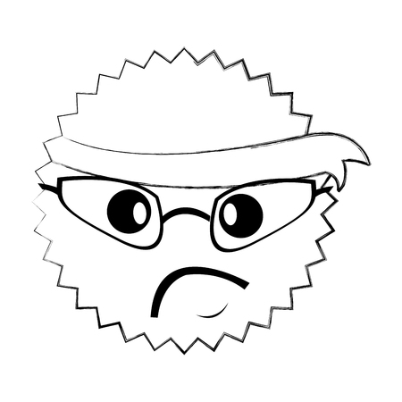 character angry with bandana kawaii style vector illustration design