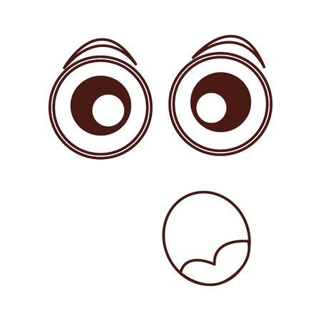 surpresed emogy face kawaii character vector illustration design