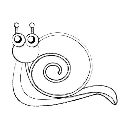 귀여운 달팽이 만화 캐릭터 벡터 일러스트 레이 션 디자인