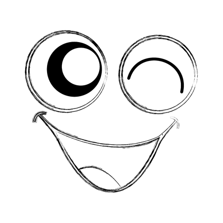 comedy: crazy emogy face kawaii character vector illustration design