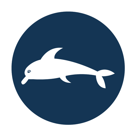 cute dolphin silhouette icon vector illustration design
