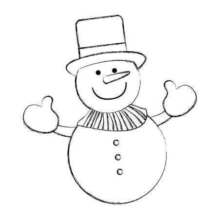 snowman comic character icon vector illustration design