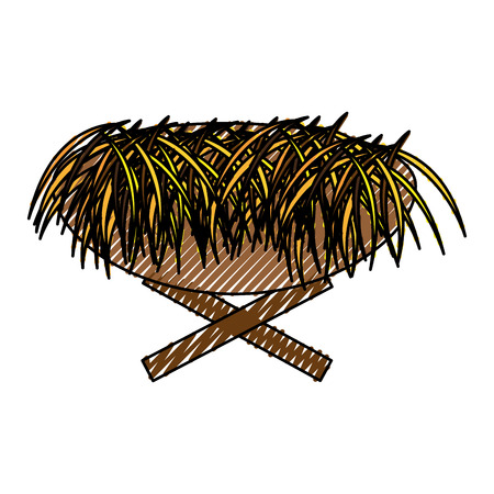 Straw cradle manger icon vector illustration design