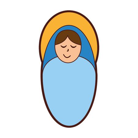 catholicism: little jesus baby manger character vector illustration design Stock Photo