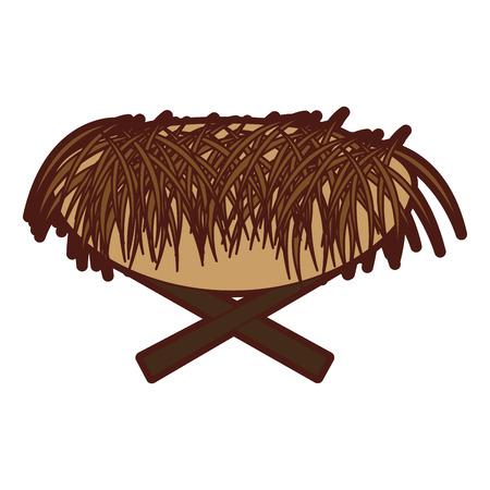Straw Cradle Manger icon vector illustratie ontwerp