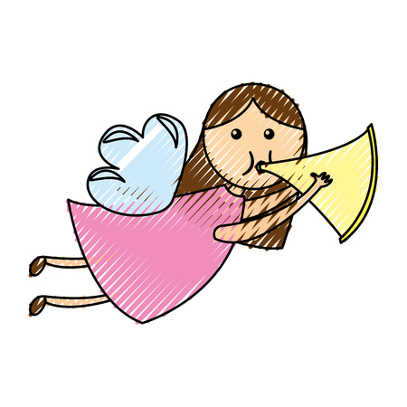 cute angel with trumpet manger character vector illustration design Illustration