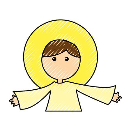 little jesus baby manger character vector illustration design Illustration