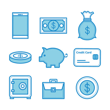 Blue money related objects illustration.