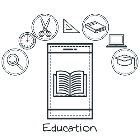 Hand drawn blue smartphone and education related objects over white background. Vector illustration.